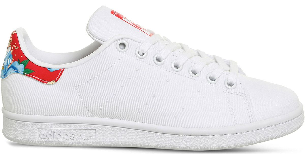 huge selection of 1a82d a78fb Adidas Originals White Stan Smith Floral Canvas Trainers