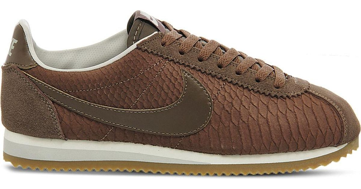 online retailer 0f8f3 152c1 Nike Classic Cortez Og Reptile-effect Trainers in Brown - Lyst