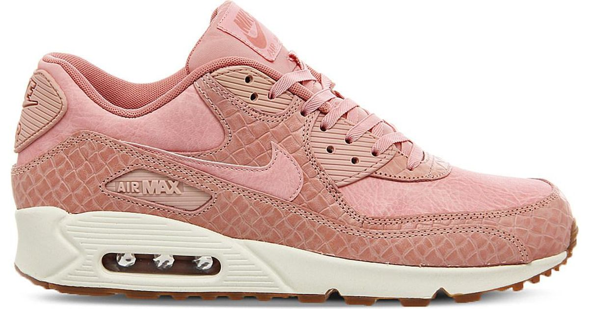 new products d82db 2743f Nike Air Max 90 Croc-embossed Leather Trainers in Pink - Lyst