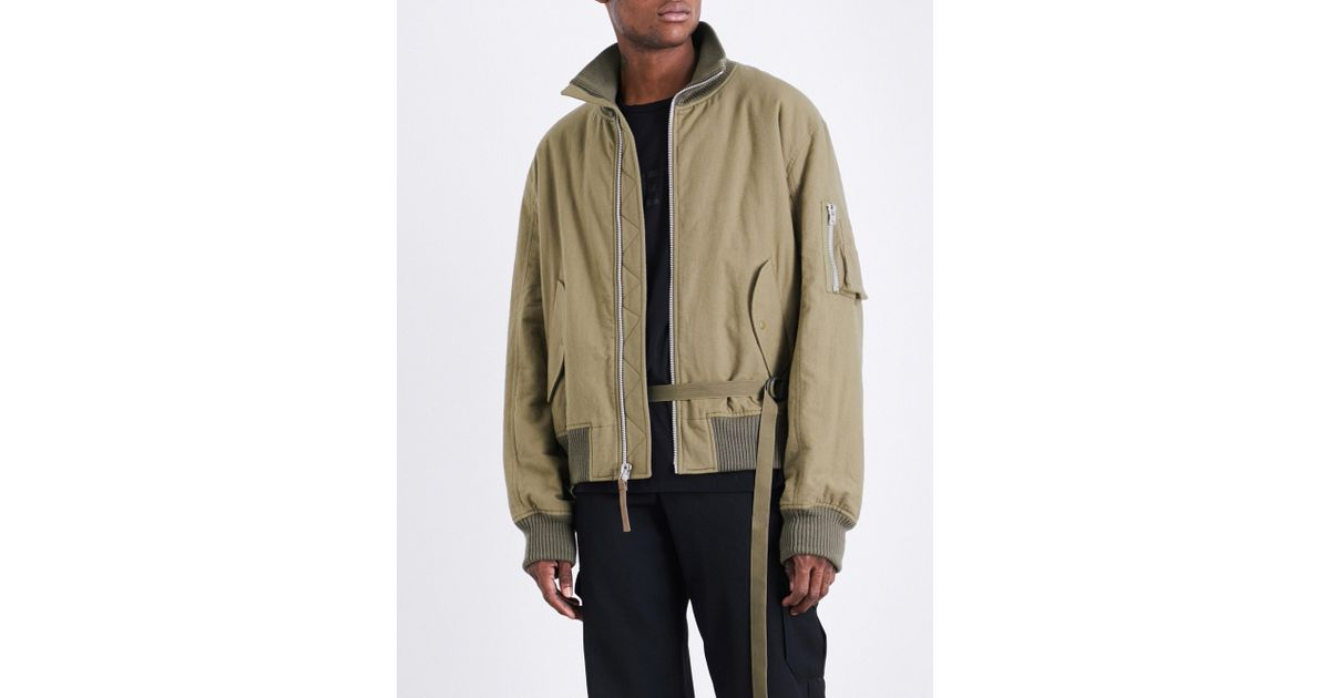 20cae1197 Helmut Lang Green High-collar Brushed-cotton Bomber Jacket for men