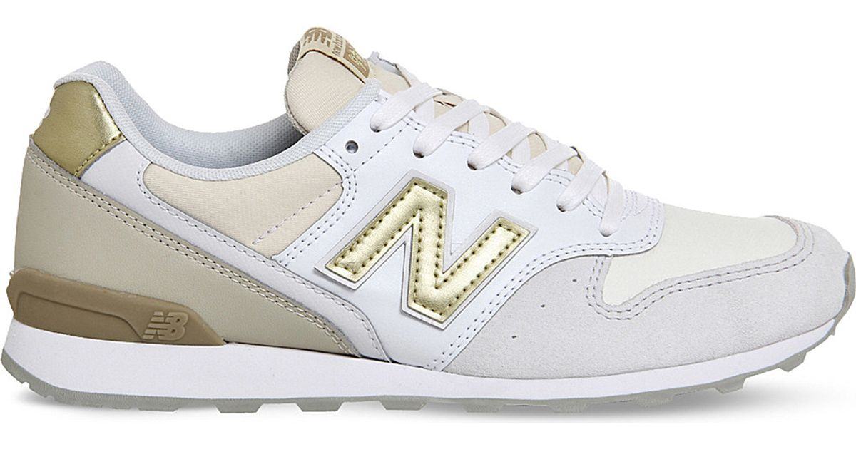 new balance wl996 suede and metallic leather trainers in white lyst. Black Bedroom Furniture Sets. Home Design Ideas