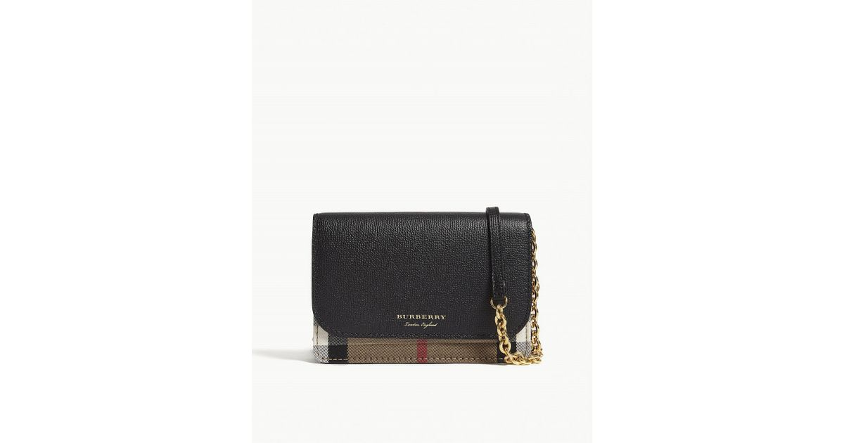 Lyst - Burberry Hampshire Check Leather Wallet-on-chain in Black c8ab34501e8d6