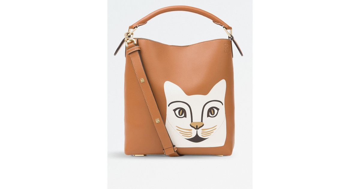 Lyst - Loewe Cat Leather T Bucket Bag in White ec94beac1c659