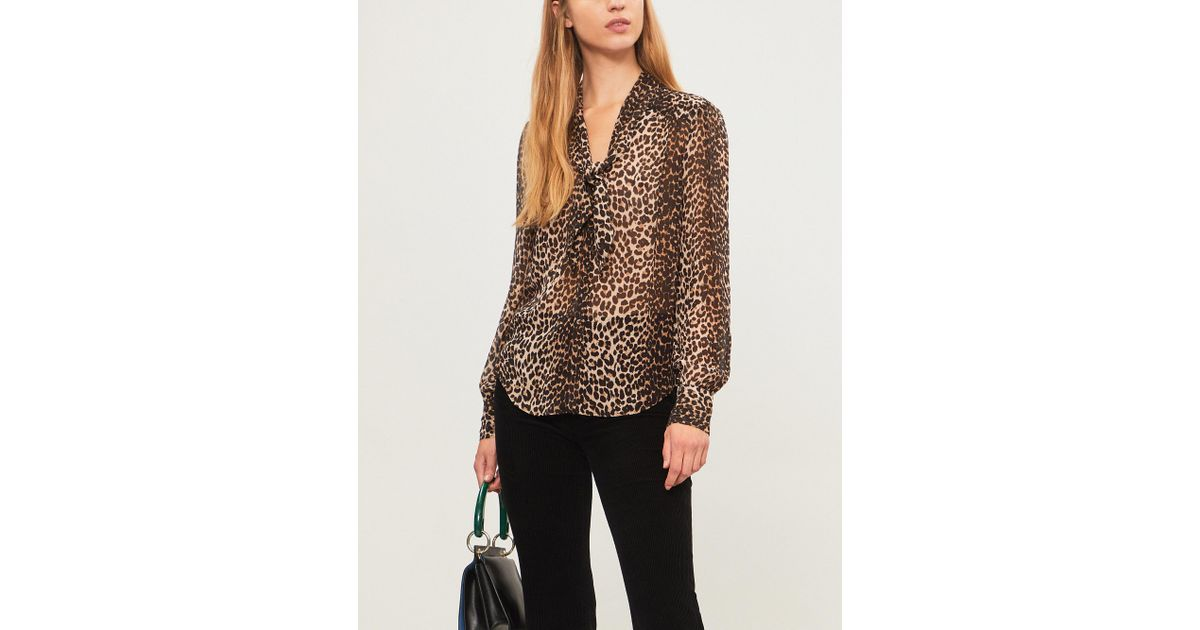 47c730bc9476b4 PAIGE Cleobelle Silk Shirt in Brown - Lyst