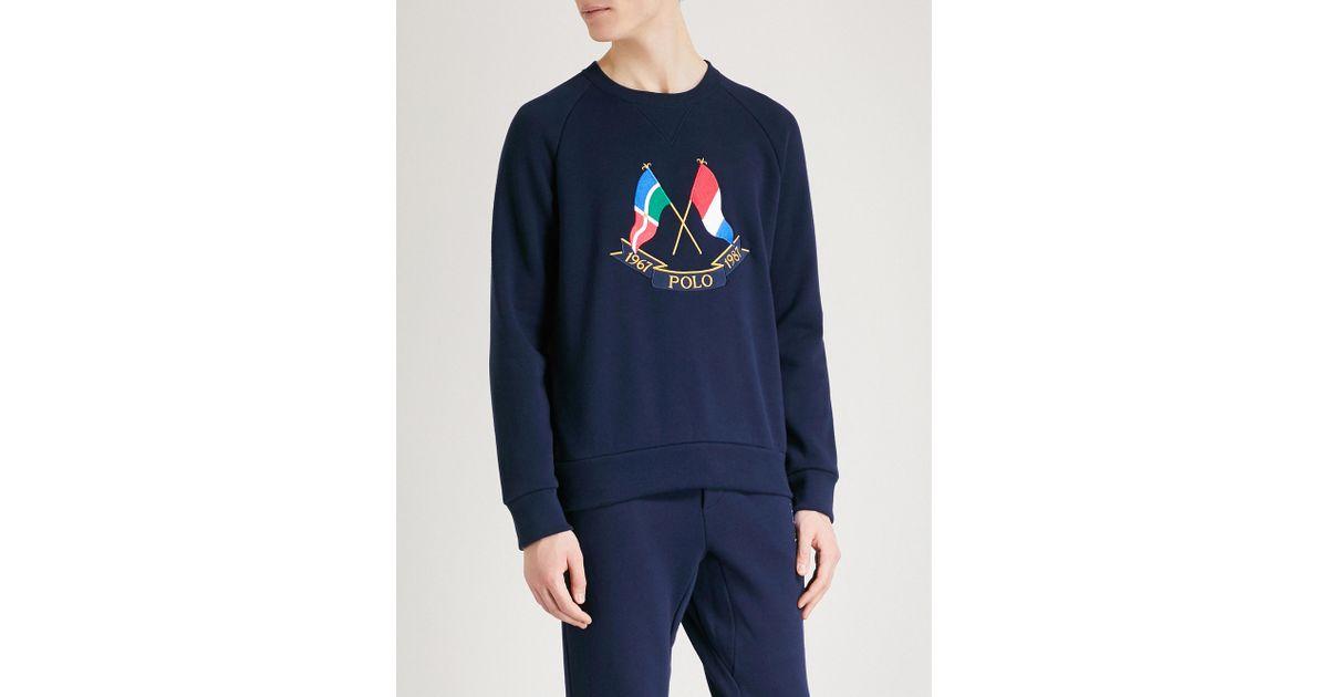 514b41257e0a Polo Ralph Lauren Navy Cross Flags Sweatshirt in Blue for Men - Lyst