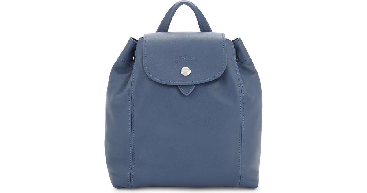 Longchamp Le Pliage Cuir Extra-small Leather Backpack in Blue - Lyst c10e62b3ce8ae