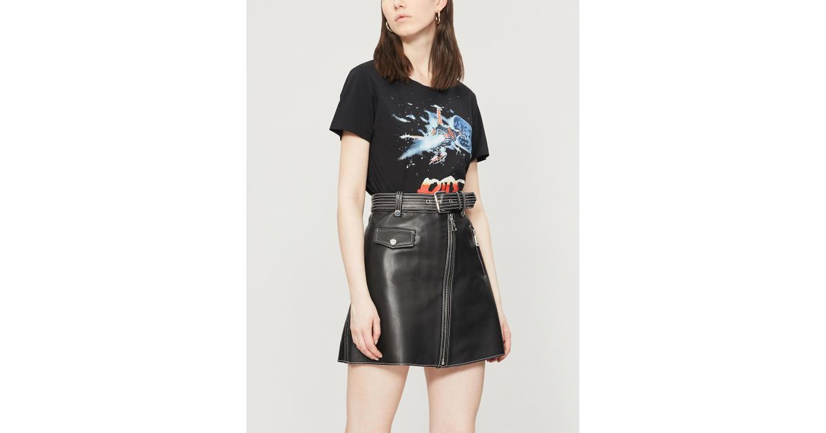 b695dc0cf Maje Jouki A-line Leather Skirt in Black - Lyst