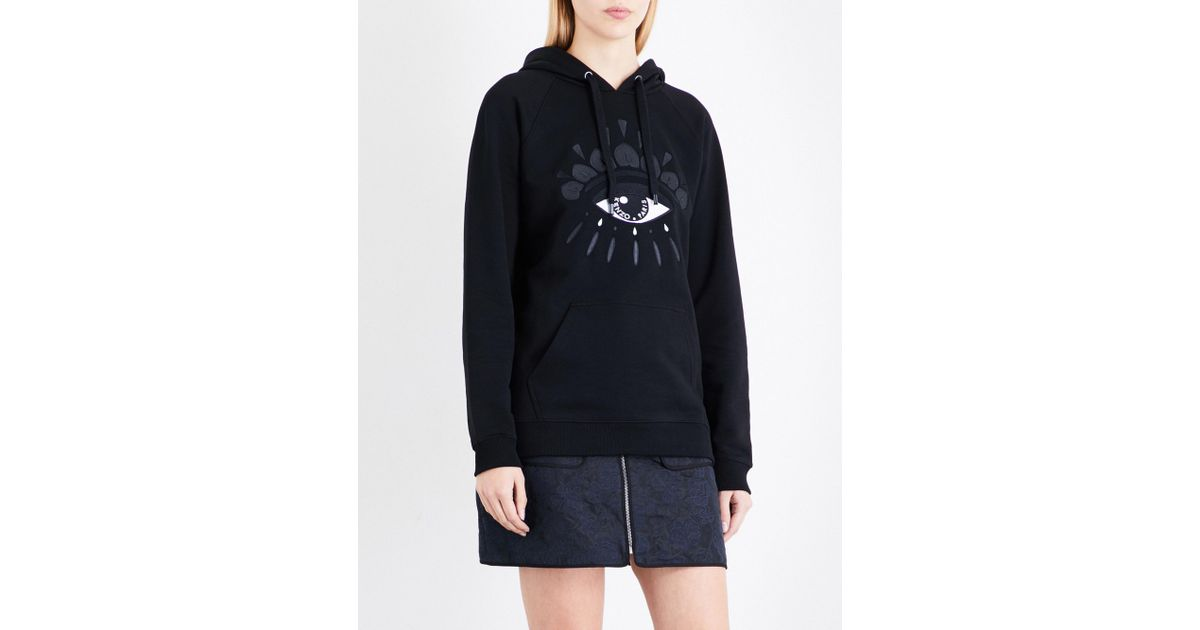 9875c60572 Lyst - KENZO Evil Eye-embroidered Cotton-jersey Hoody in Black