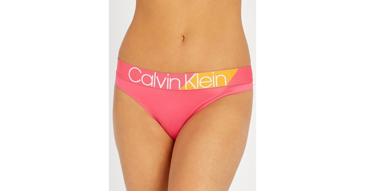 d01f81f834 Lyst - Calvin Klein Bold Accents Stretch-jersey Thong in Pink