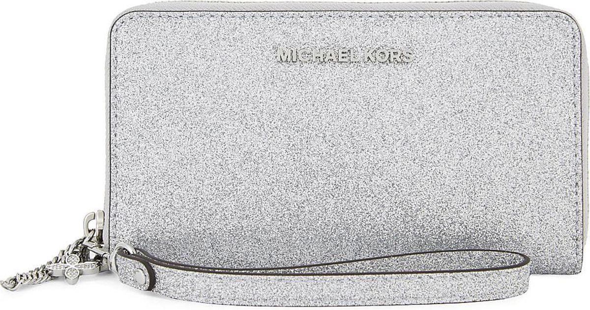 6d445a5a5ab2 MICHAEL Michael Kors Alex Glitter Multi-function Phone Wallet in Metallic -  Lyst