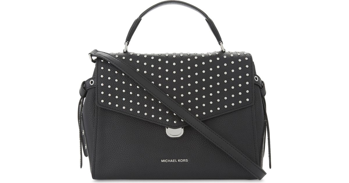 68f84ee0d713 Lyst - MICHAEL Michael Kors Bristol Studded Leather Satchel Bag in Black