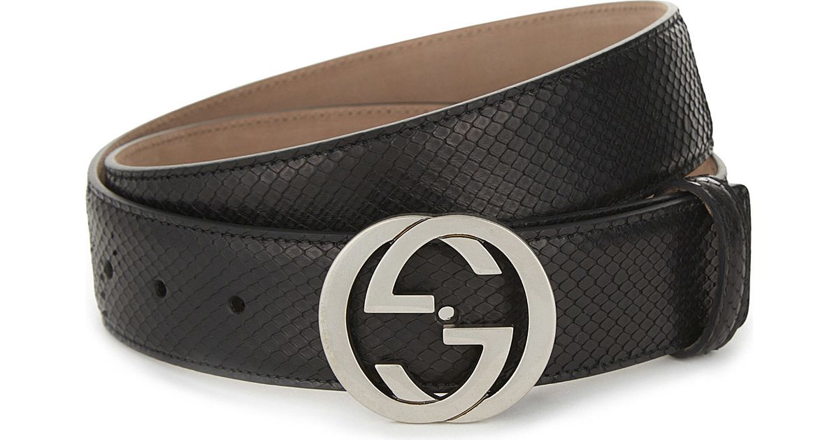 529ff8bc700e9 Gucci Python Interlocking Buckle Belt in Black for Men - Lyst