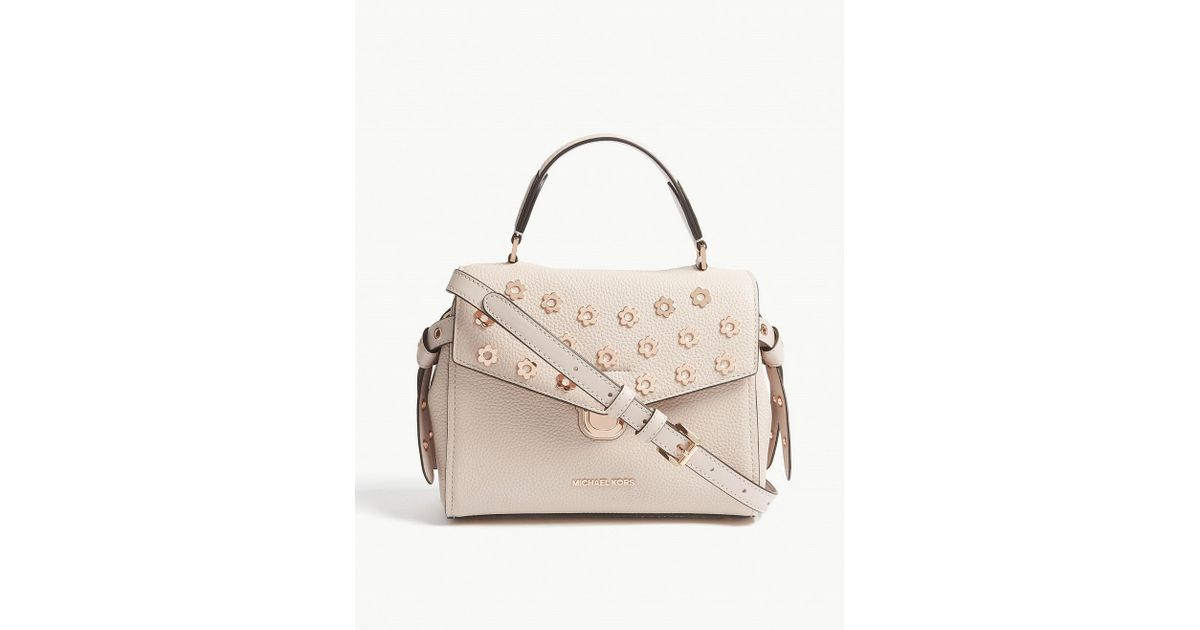 4ab3cf6610ca ... new style michael michael kors bristol small grained leather satchel in  pink lyst 51b3e 509f8