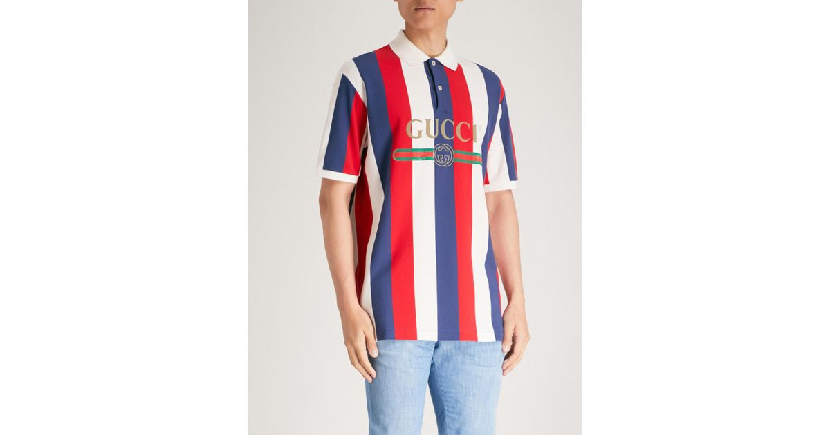 768004502 Gucci Baiadera Striped Cotton-piqué Polo Shirt in Red for Men - Lyst