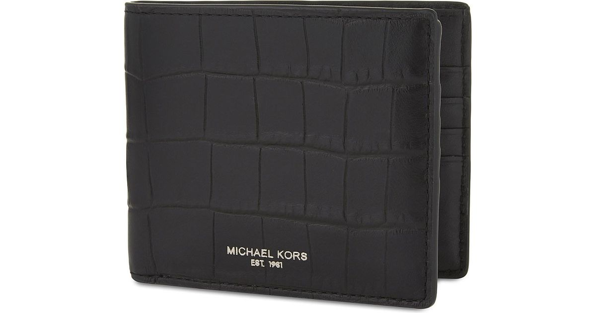 9d400fdcb6f0 Lyst - Michael Kors Bryant Crocodile-embossed Leather Wallet in Black for  Men