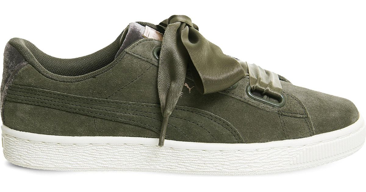 new arrival e4498 40ee9 PUMA Green Suede Heart Velvet Rope Trainers