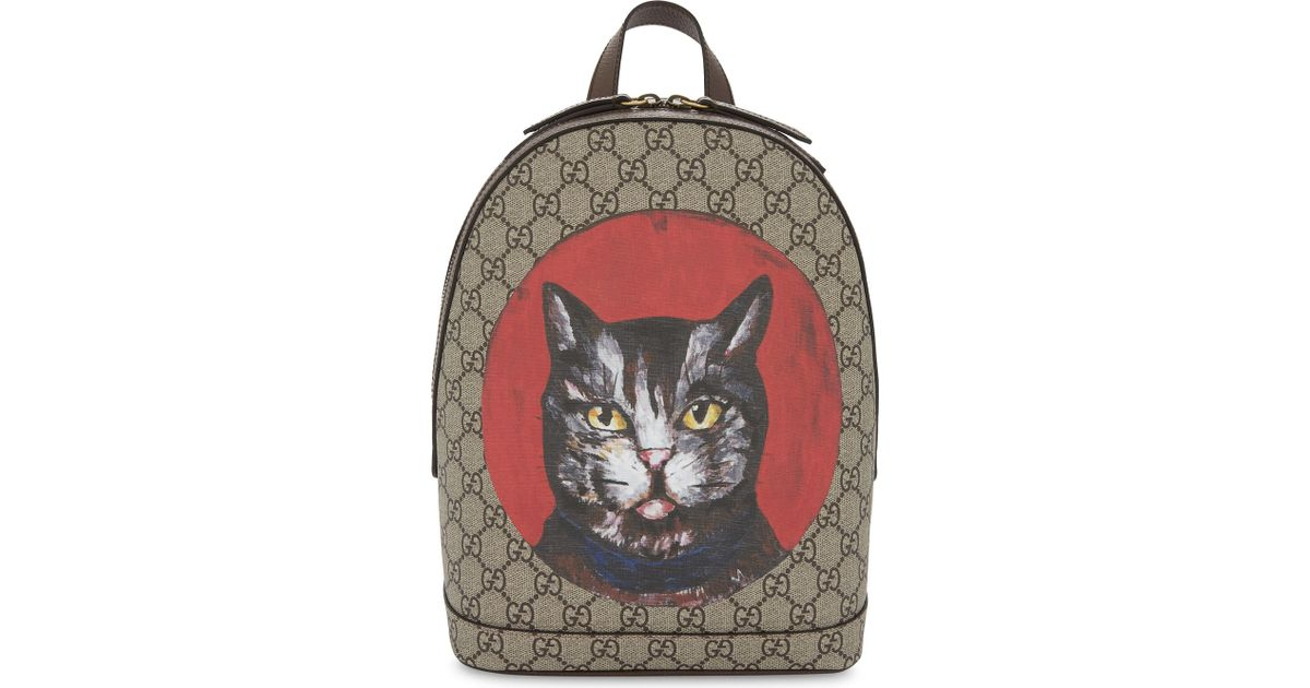 b1d253a2d128 Gucci Bestiary Cat Gg Supreme Backpack in Natural - Lyst