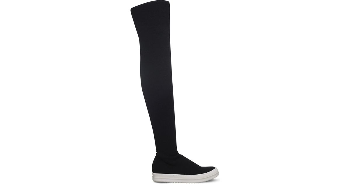 Rick Owens Black Stocking Over-the-Knee Boots z3EZHzMg