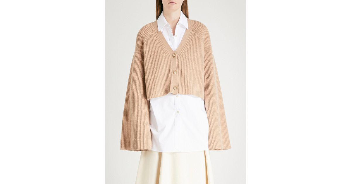 Elizabeth And James Cabot Cardigan Ribbed Wide Sleeve Cropped Sweater Jacket