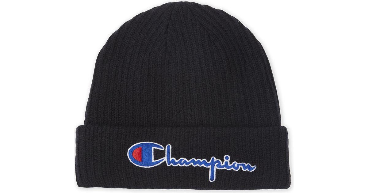 Lyst - Champion Signature Logo Merino Wool Beanie in Black for Men 1369b1a92b5