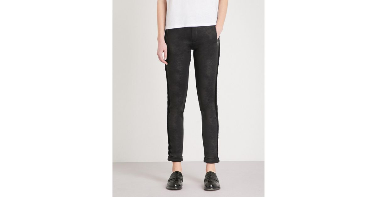 0816f1f7f97f26 Lyst - The Kooples Velvet-trim Faux-leather Leggings in Black