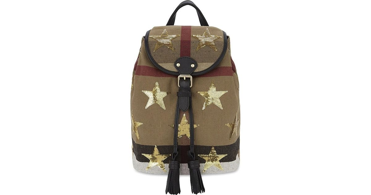 a5d5c548798b Lyst - Burberry Sequin Stars Canvas Mini Backpack in Black
