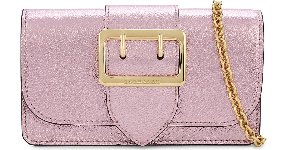 f7ae892af5 Lyst - Burberry Buckle Leather Clutch in Pink
