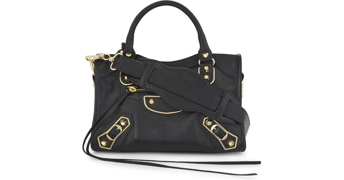 ed39b6cdaab9e Lyst - Balenciaga Metallic Edge City Mini Leather Shoulder Bag in Black