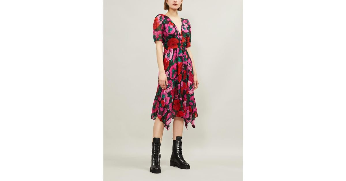 899de635c The Kooples Floral-patterned Empire-waist Silk-crepe Dress in Red - Lyst