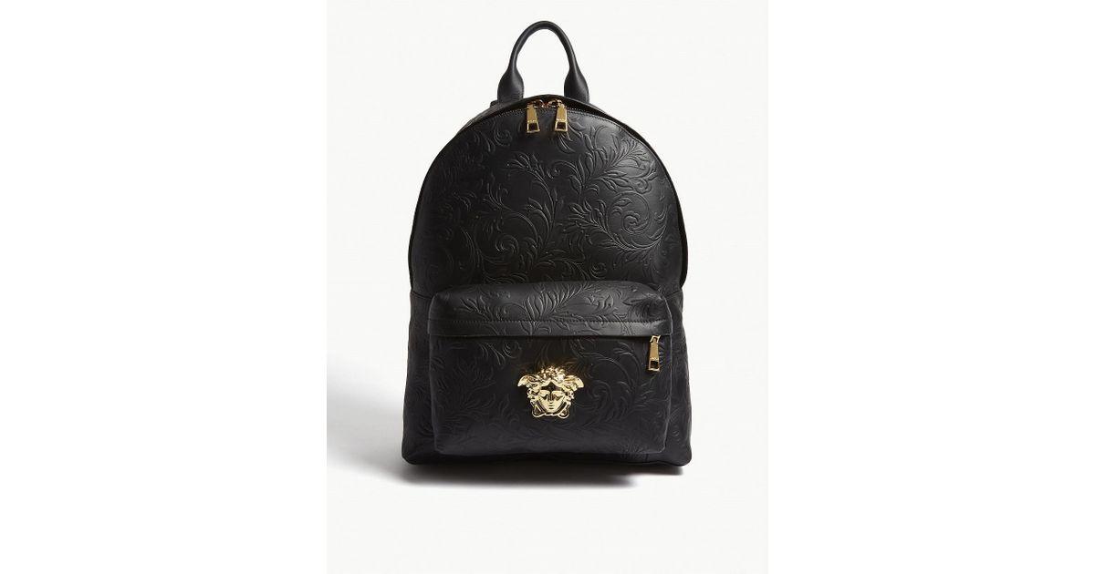008c03ff53 Lyst - Versace Black And Gold Medusa Patterned Leather Backpack in Black  for Men