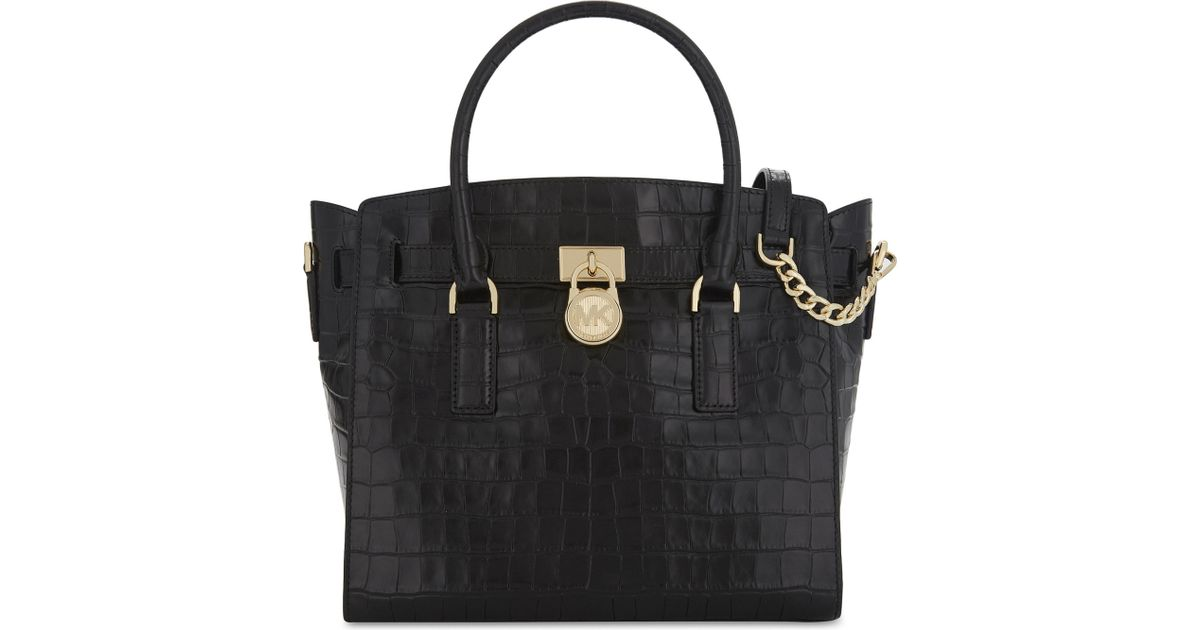 4b21e1fd58a9bb MICHAEL Michael Kors Hamilton Croc-embossed Leather Tote Bag in Black - Lyst