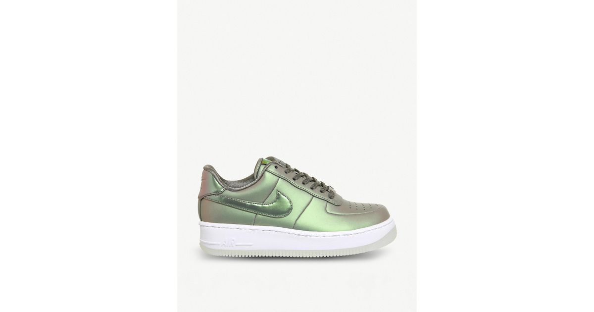 089dc94454446 Nike Green Air Force 1 Upstep Iridescent Metallic Leather Trainers