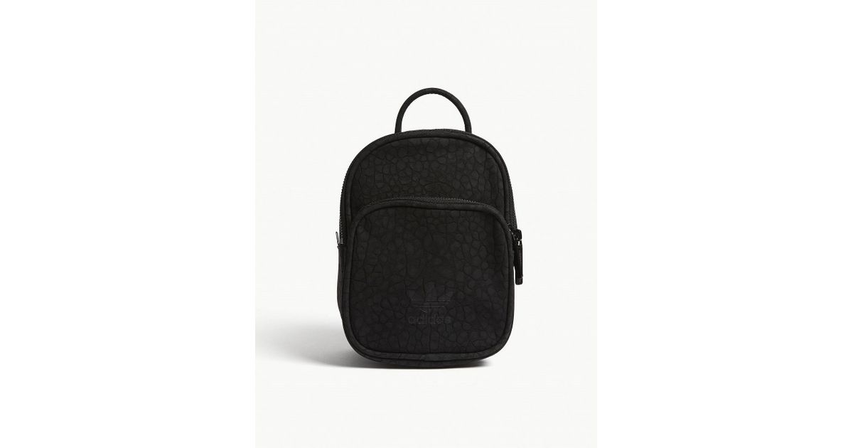 Lyst - adidas Originals Embossed Faux-suede Mini Backpack in Black d2884e4411