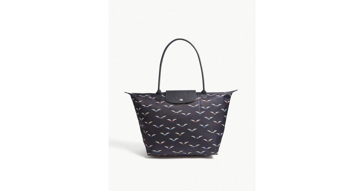e6e514683a22 Longchamp Le Pliage Chevaux Ailes Large Shoulder Bag in Blue - Lyst