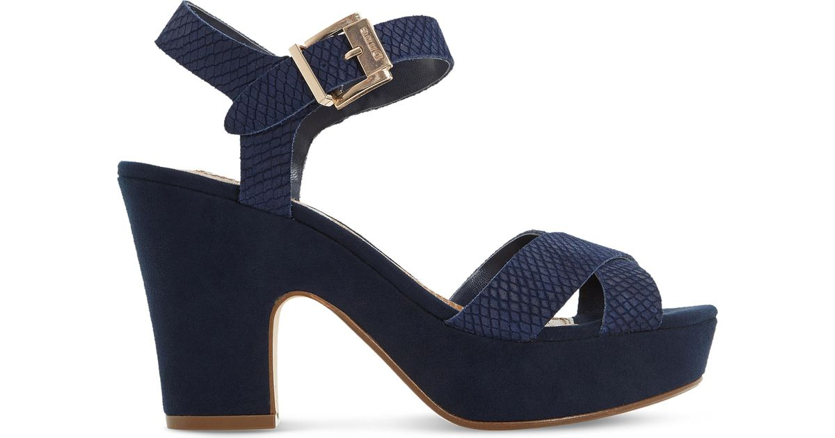 Dune Iyla Suede Heeled Sandals in Blue