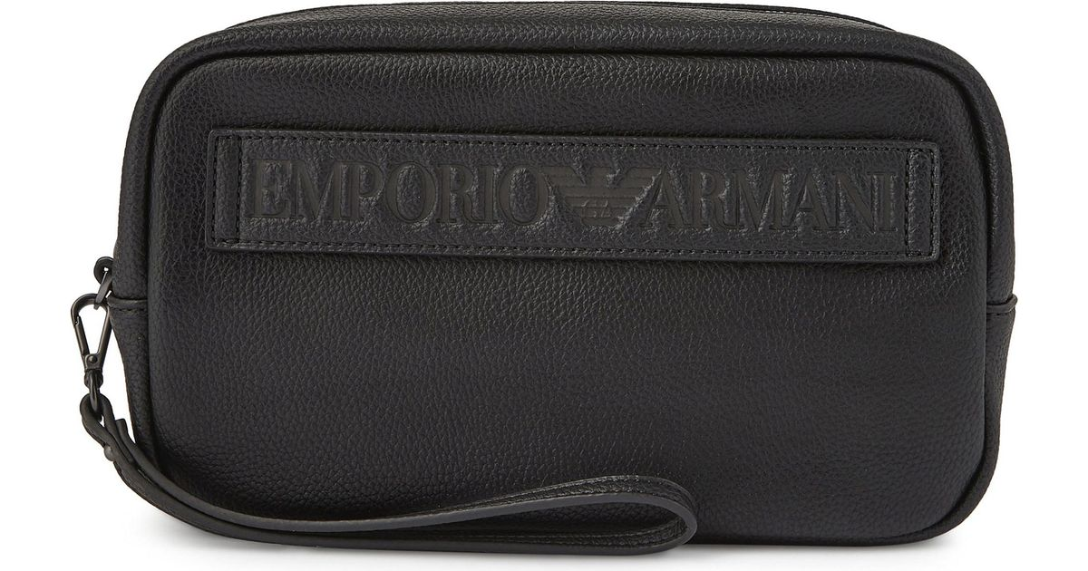 a284f019f78 Armani Grained Leather Wash Bag in Black for Men - Lyst