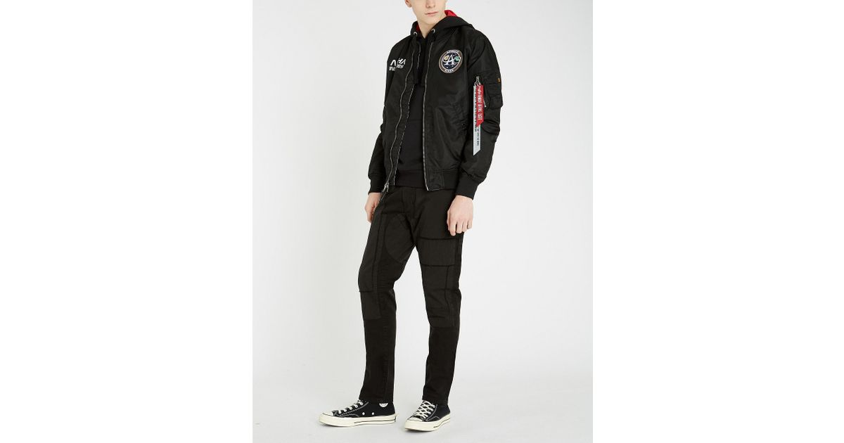 e79e00f53f0b Alpha Industries Ma-1 Moon Landing Shell Bomber Jacket in Black for Men -  Lyst