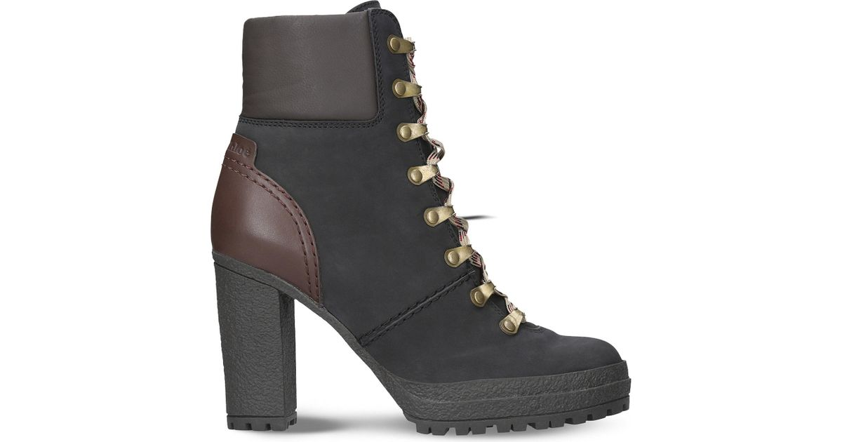 8268b0aae0a See By Chloé Black Eileen Heeled Leather Hiking Boots