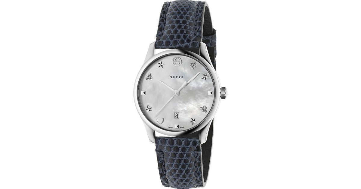 6594818ca88 Lyst - Gucci Ya126588 G-timeless Mother-of-pearl And Lizard-leather Strap  Quartz Watch in Metallic
