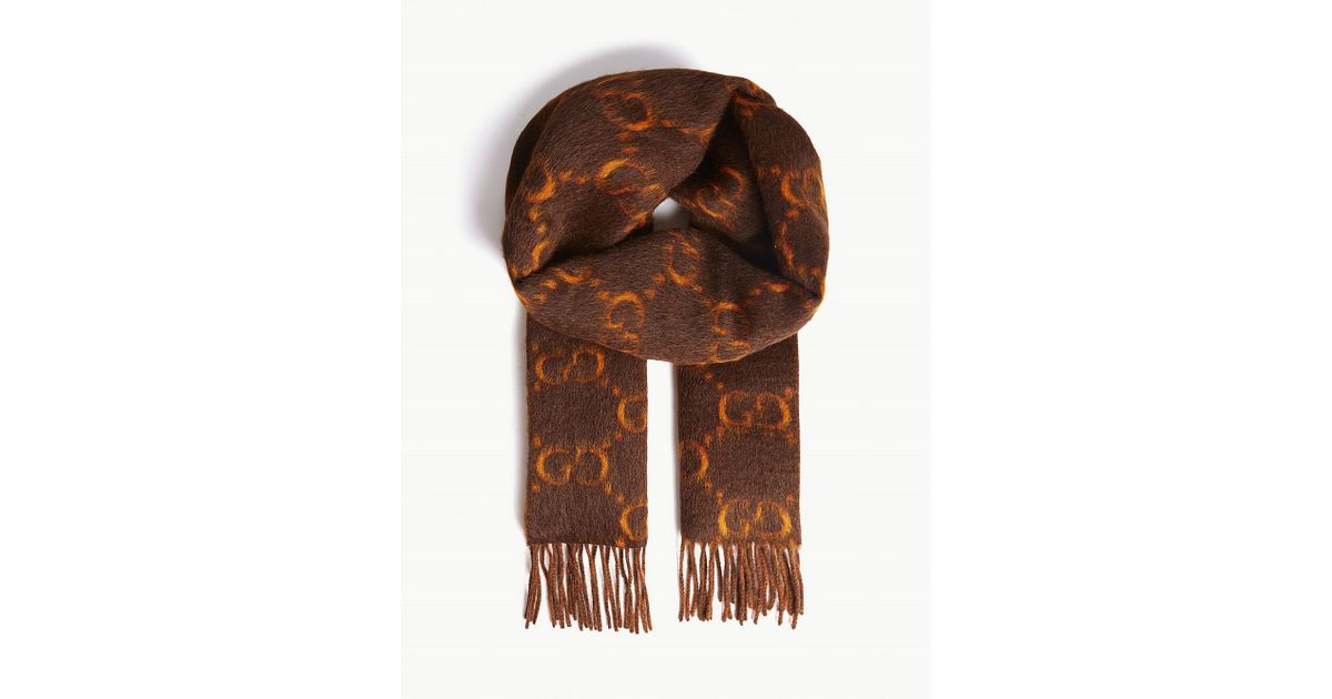 37264a5bb5 Gucci Brown GG Alpaca Wool Scarf for men