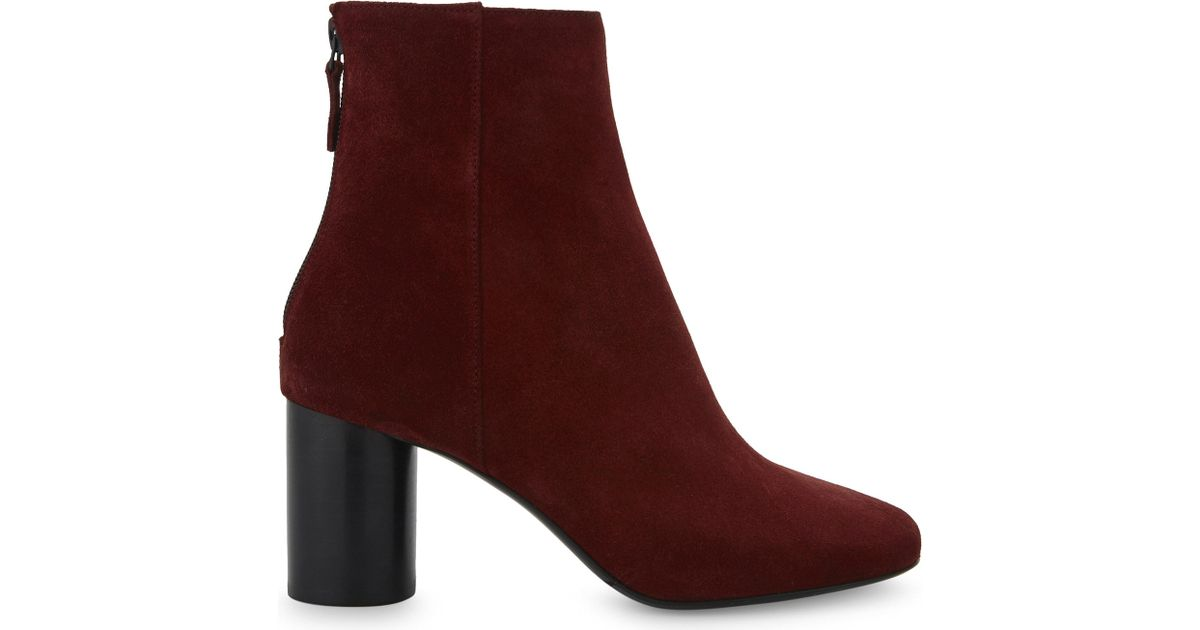 c9eadc4cffdfe Sandro Sacha Suede Heel Ankle Boots in Purple - Lyst
