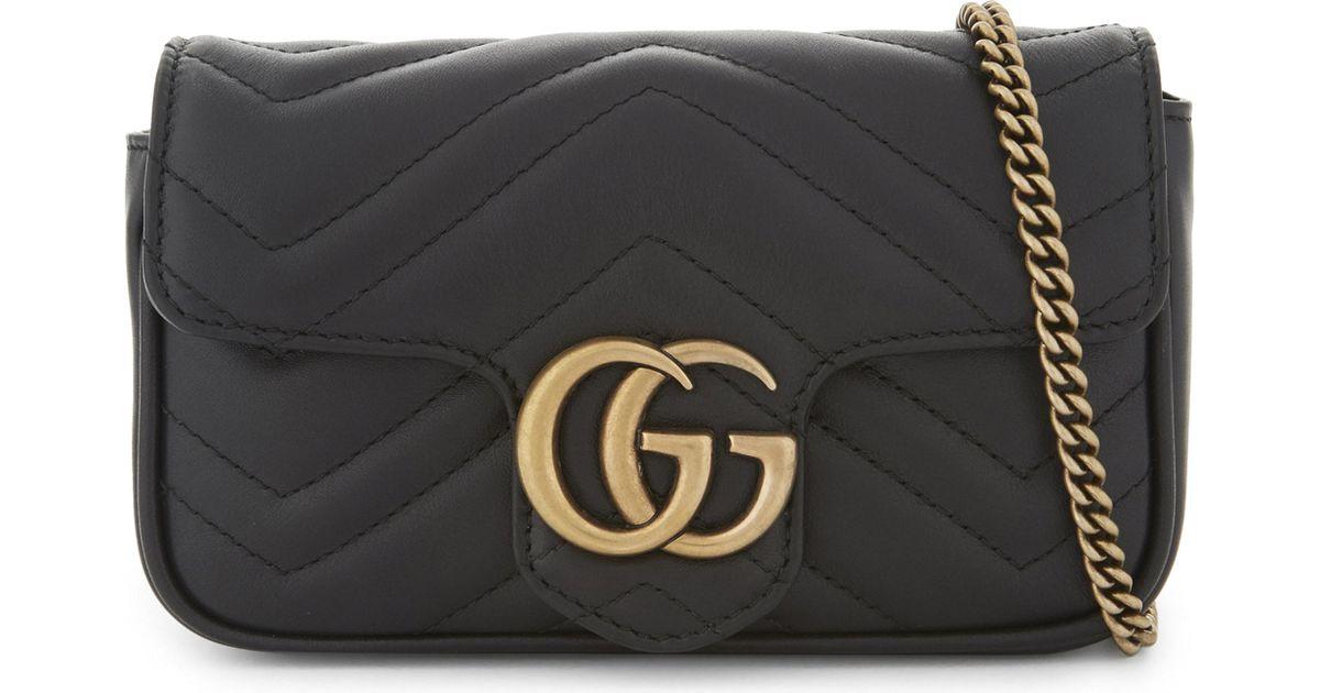 f172337b4a9518 Gucci Marmont Super Mini Leather Shoulder Bag in Black - Lyst