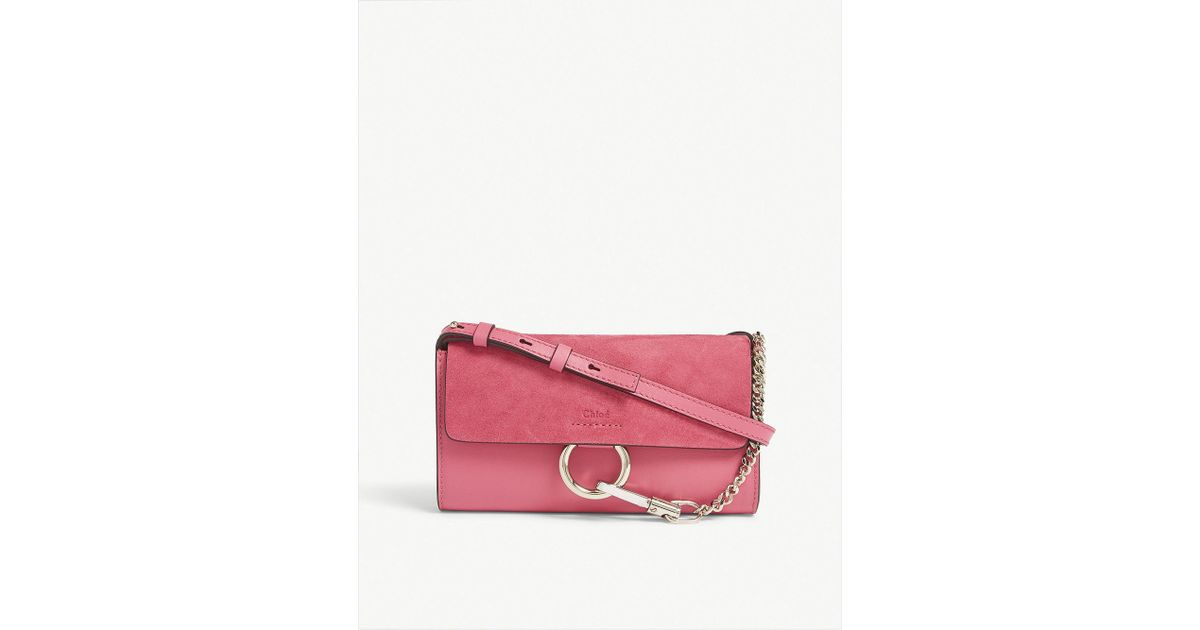 Chloé Ladies Fushia Rose Pink Faye Suede Leather Cross-body Bag