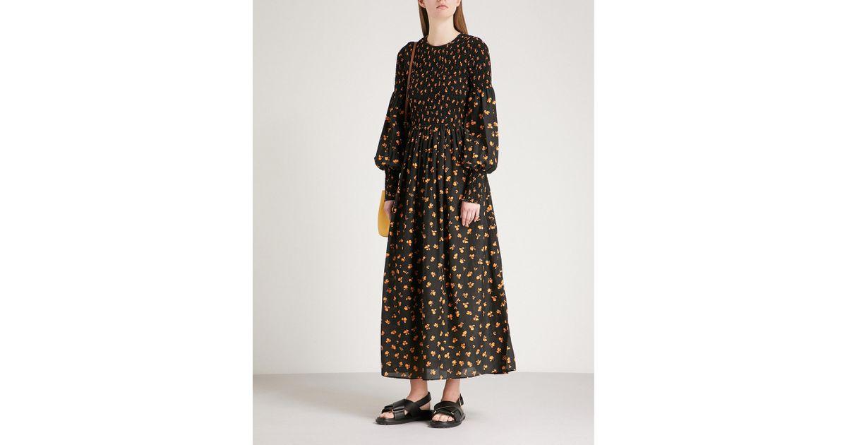 28dab262680 Ganni Black Beacon Smocked Cotton And Silk-blend Dress