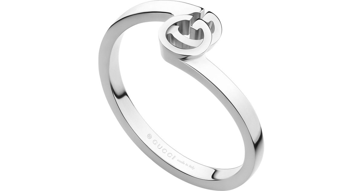Lyst Gucci Gg 18ct White gold Ring in Metallic