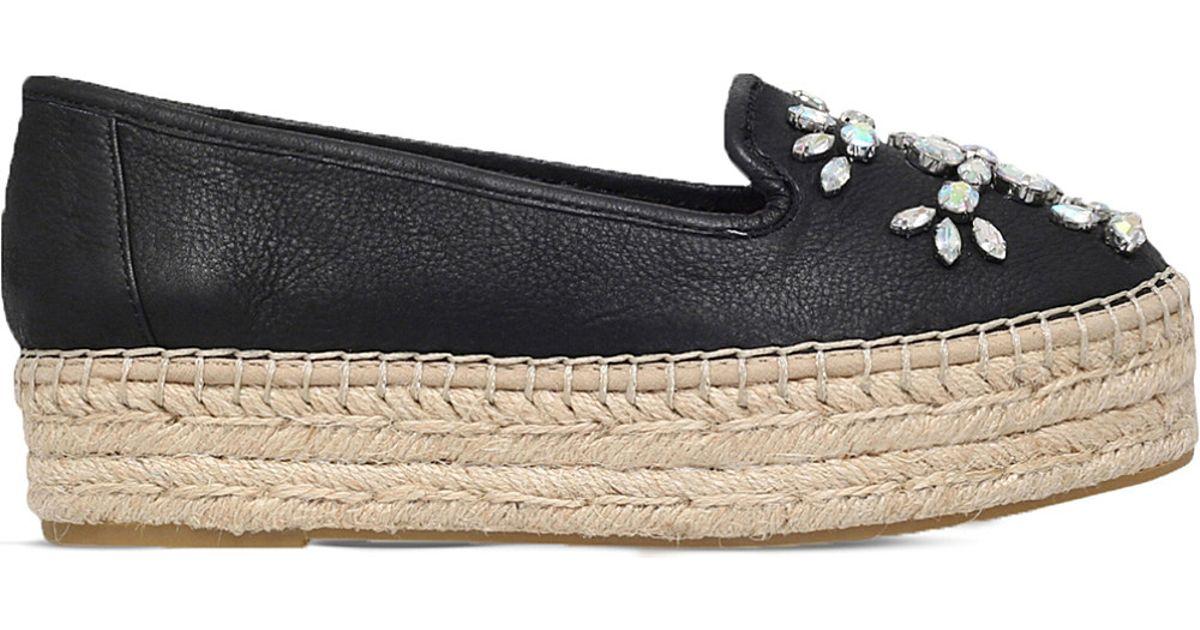 Carvela kurt geiger Lolly Embellished Leather Flatform Espadrilles in