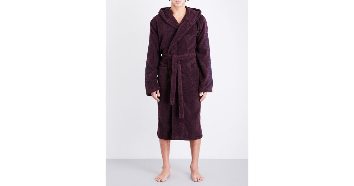 Lyst - Emporio Armani Hooded Towelling Dressing Gown in Purple for Men