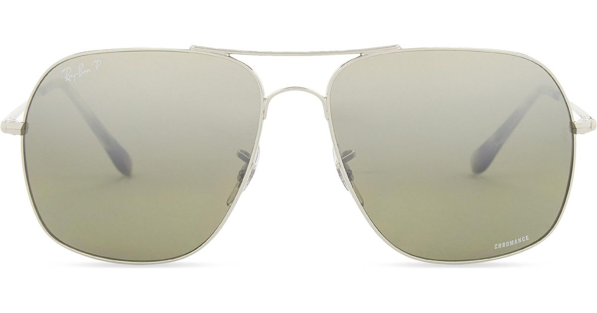 f280676c92 Ray-Ban Rb3587 Chromance Square-frame Sunglasses in Metallic - Lyst