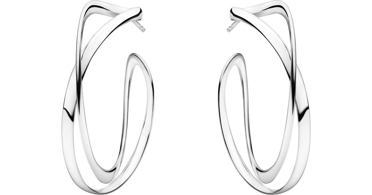 Georg Jensen Silver Black Diamond Pave Infinity ring