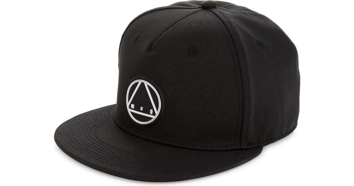 Lyst - McQ Triangle Logo Cotton Snapback Cap in Black for Men 10c54e3f0e3f